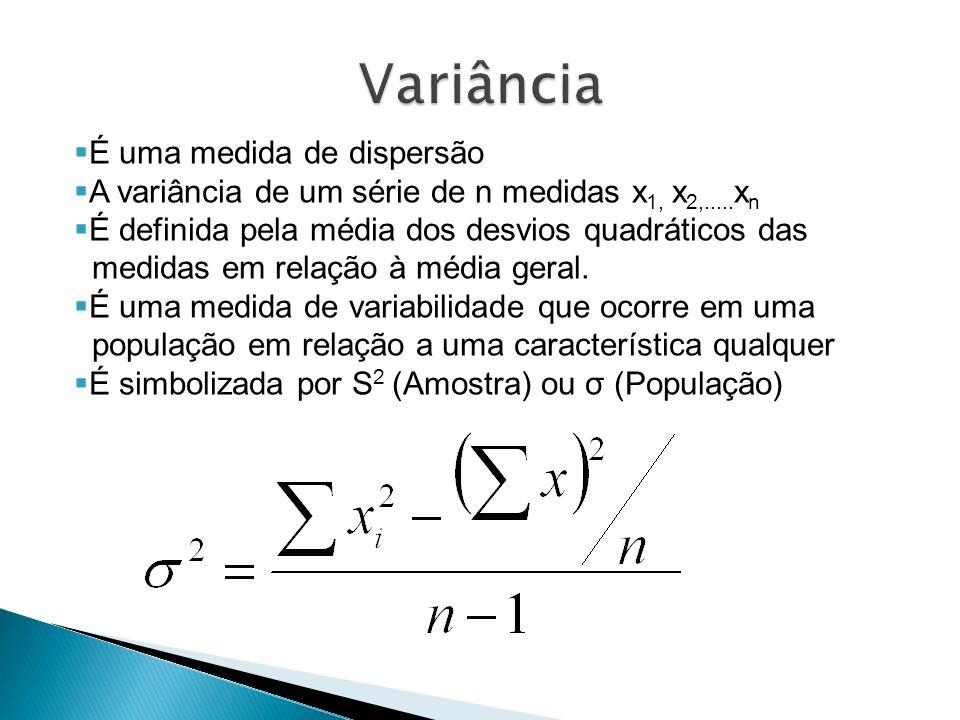 É uma medida de dispersão A variância de um série de n medidas x 1, x 2,..... x n É definida pela média dos desvios quadráticos das medidas em relação