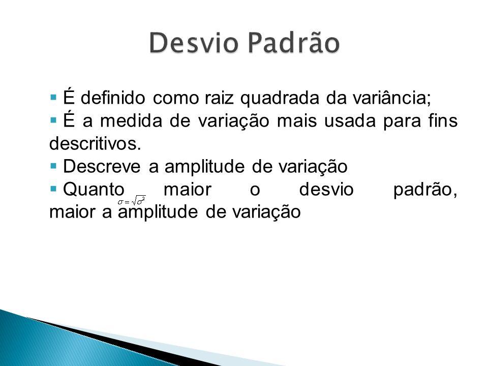 É definido como raiz quadrada da variância; É a medida de variação mais usada para fins descritivos. Descreve a amplitude de variação Quanto maior o d