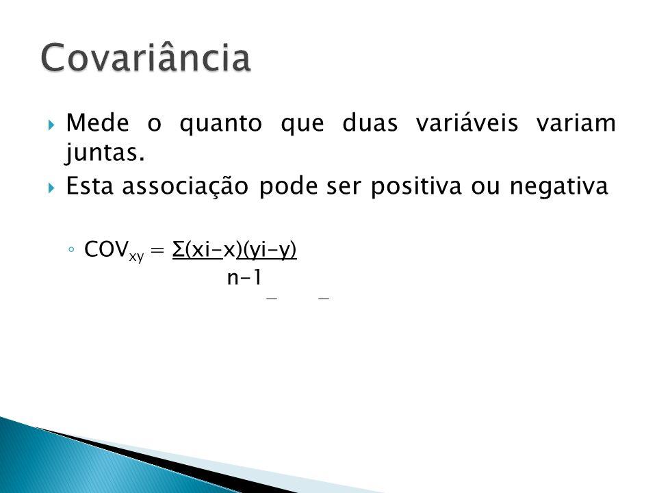 Mede o quanto que duas variáveis variam juntas. Esta associação pode ser positiva ou negativa COV xy = Σ(xi-x)(yi-y) n-1