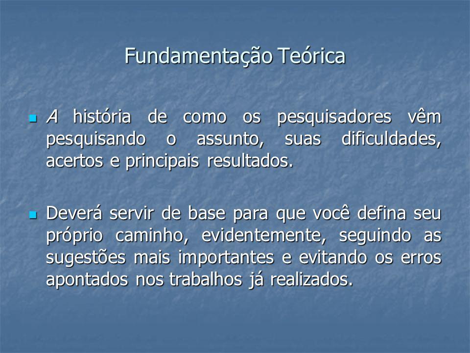 Fundamentação Teórica A história de como os pesquisadores vêm pesquisando o assunto, suas dificuldades, acertos e principais resultados. A história de