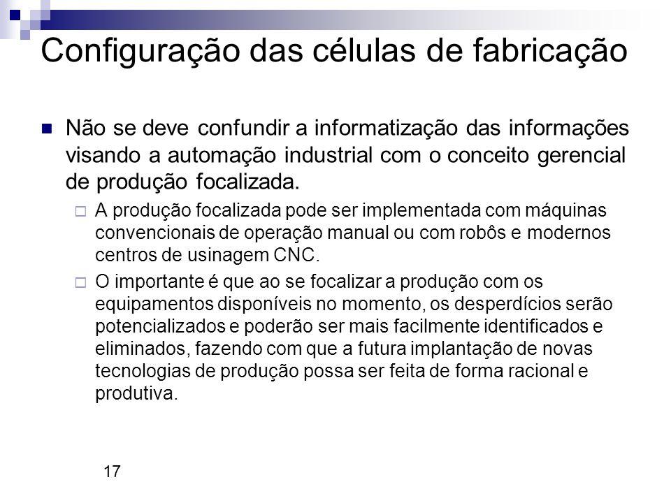 17 Configuração das células de fabricação Não se deve confundir a informatização das informações visando a automação industrial com o conceito gerenci