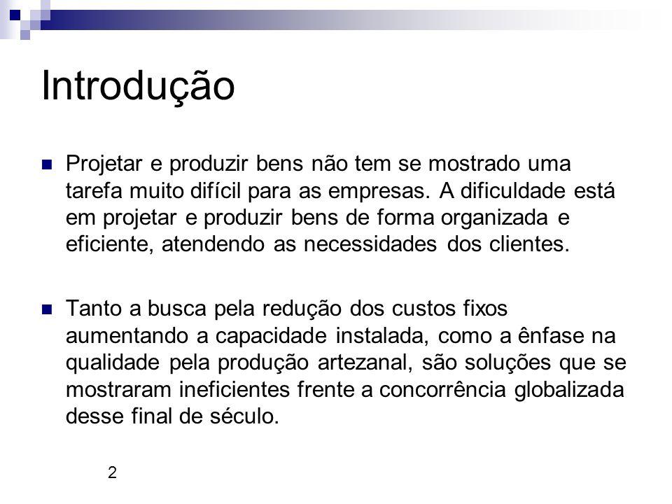 2 Introdução Projetar e produzir bens não tem se mostrado uma tarefa muito difícil para as empresas. A dificuldade está em projetar e produzir bens de