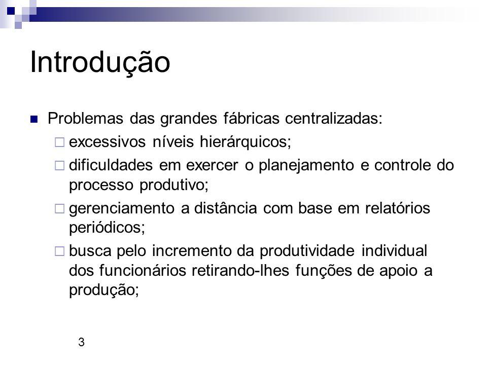 3 Introdução Problemas das grandes fábricas centralizadas: excessivos níveis hierárquicos; dificuldades em exercer o planejamento e controle do proces