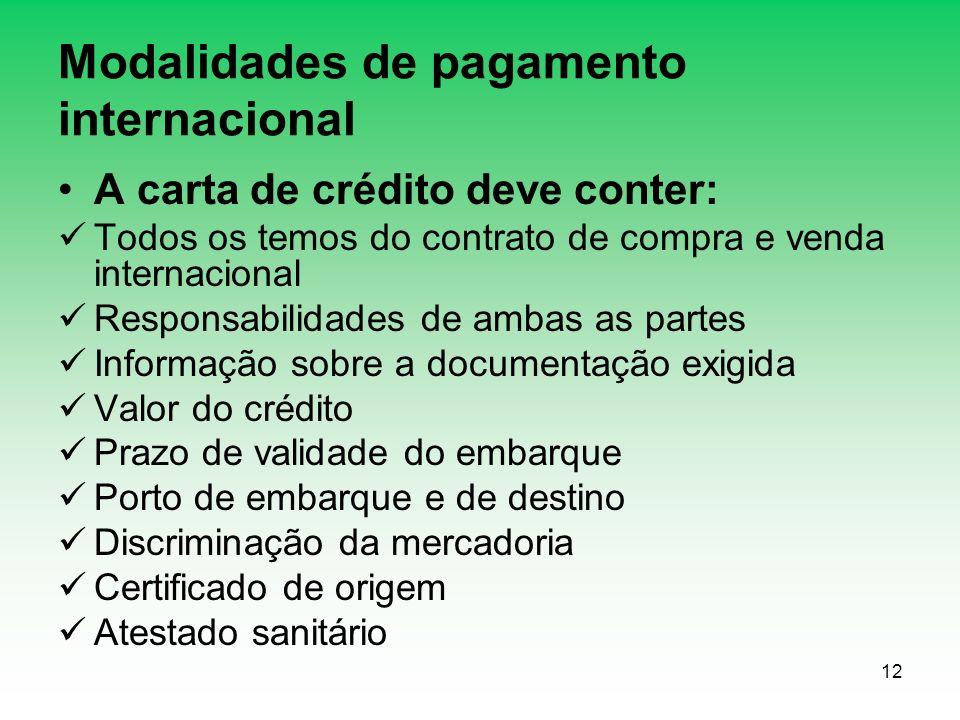 12 Modalidades de pagamento internacional A carta de crédito deve conter: Todos os temos do contrato de compra e venda internacional Responsabilidades