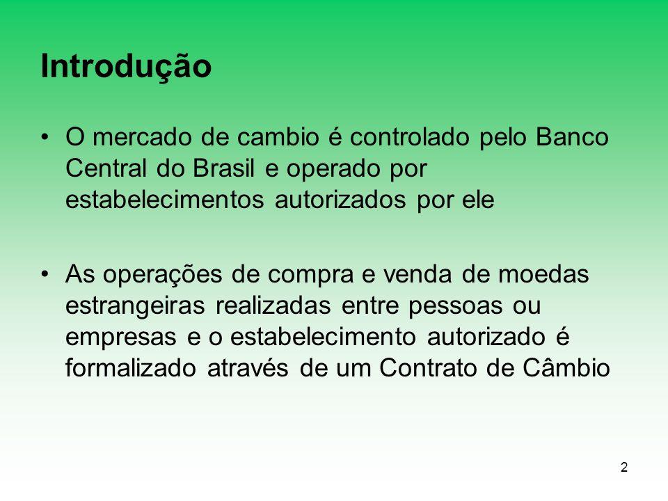 2 Introdução O mercado de cambio é controlado pelo Banco Central do Brasil e operado por estabelecimentos autorizados por ele As operações de compra e venda de moedas estrangeiras realizadas entre pessoas ou empresas e o estabelecimento autorizado é formalizado através de um Contrato de Câmbio