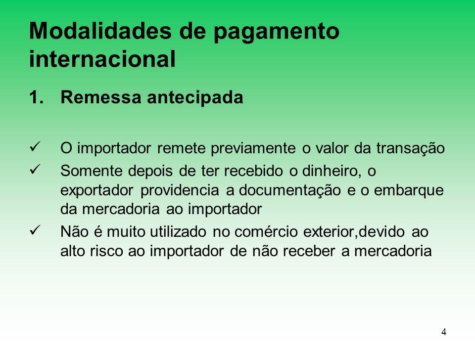 4 Modalidades de pagamento internacional 1.Remessa antecipada O importador remete previamente o valor da transação Somente depois de ter recebido o di