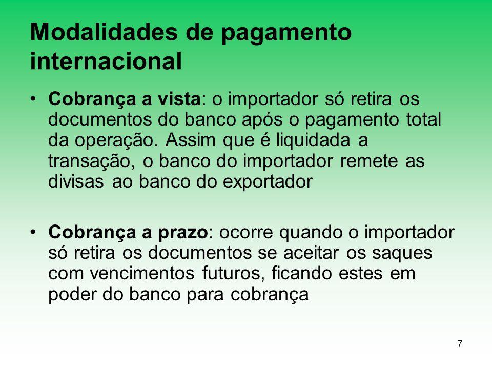 7 Modalidades de pagamento internacional Cobrança a vista: o importador só retira os documentos do banco após o pagamento total da operação. Assim que