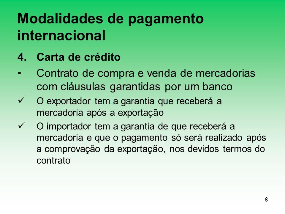 8 Modalidades de pagamento internacional 4.Carta de crédito Contrato de compra e venda de mercadorias com cláusulas garantidas por um banco O exportad