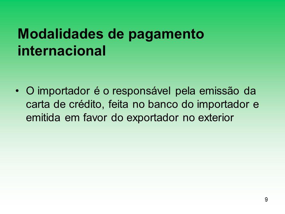 9 Modalidades de pagamento internacional O importador é o responsável pela emissão da carta de crédito, feita no banco do importador e emitida em favor do exportador no exterior