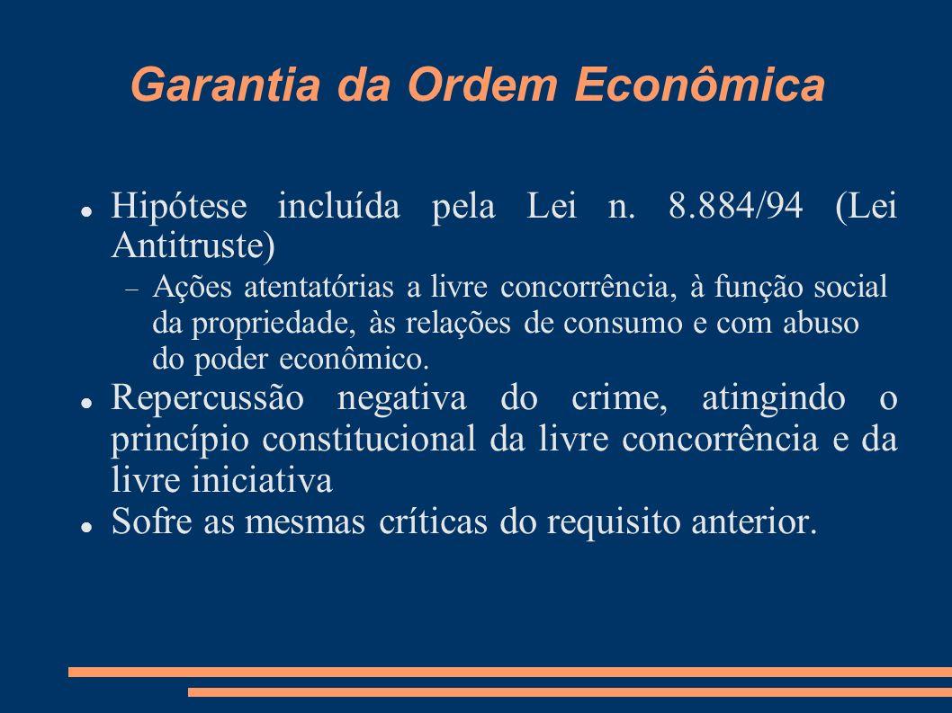 Garantia da Ordem Econômica Hipótese incluída pela Lei n. 8.884/94 (Lei Antitruste) Ações atentatórias a livre concorrência, à função social da propri