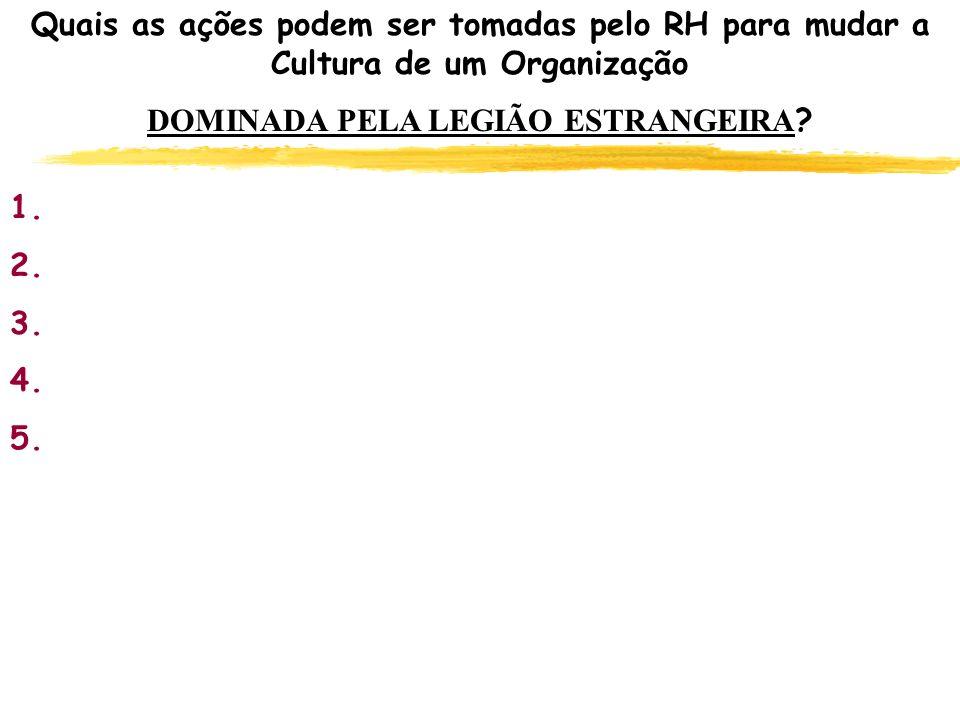 Quais as ações podem ser tomadas pelo RH para mudar a Cultura de um Organização DOMINADA PELA LEGIÃO ESTRANGEIRA ? 1. 2. 3. 4. 5.