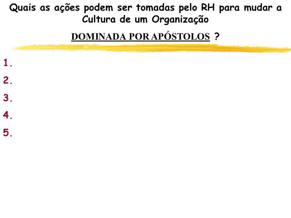 Quais as ações podem ser tomadas pelo RH para mudar a Cultura de um Organização DOMINADA POR APÓSTOLOS ? 1. 2. 3. 4. 5.