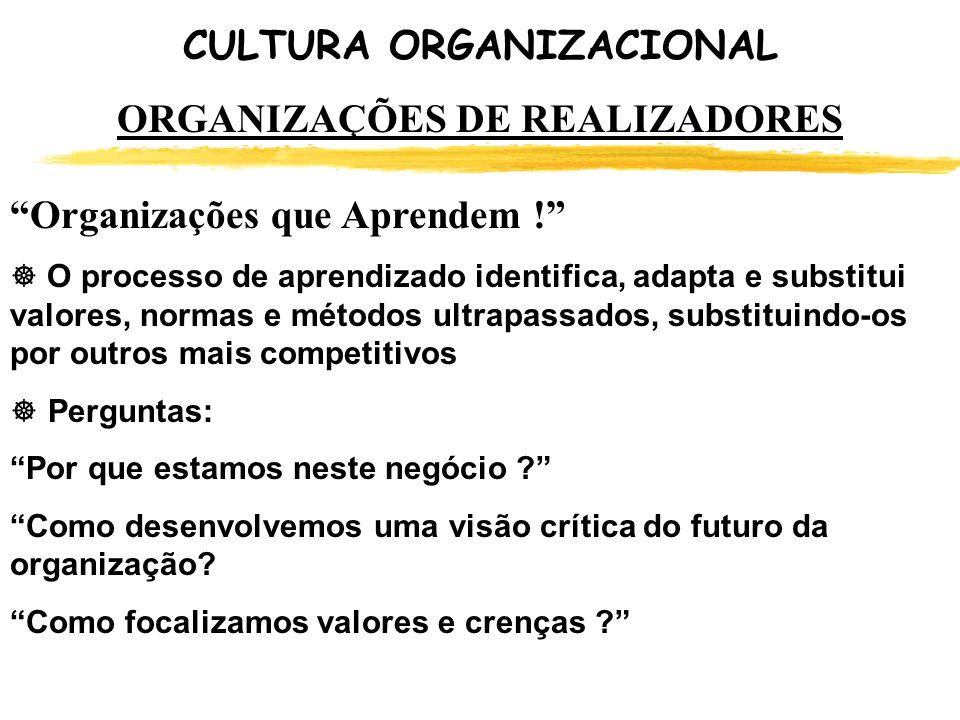 CULTURA ORGANIZACIONAL ORGANIZAÇÕES DE REALIZADORES Organizações que Aprendem ! O processo de aprendizado identifica, adapta e substitui valores, norm