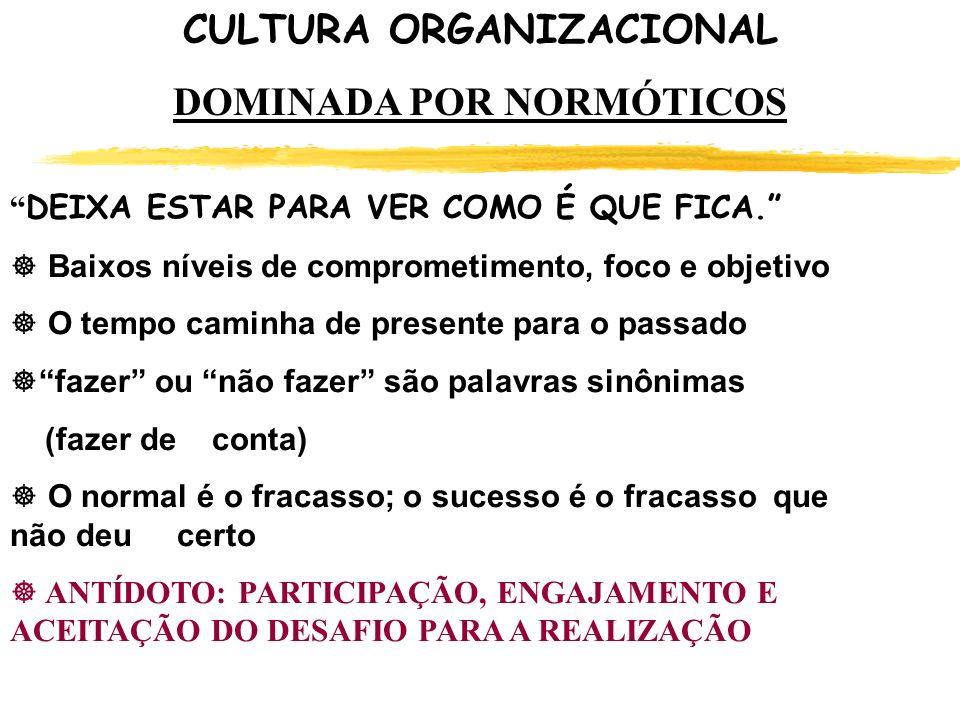 Quais as ações podem ser tomadas pelo RH para mudar a Cultura de um Organização DOMINADA POR NORMÓTICOS .