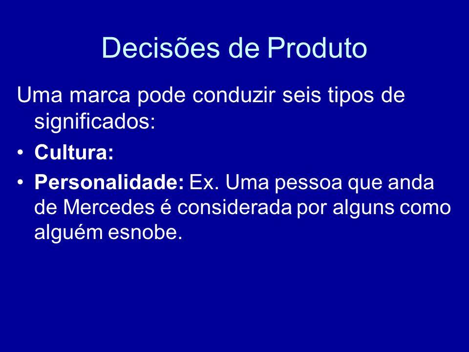 Decisões de Produto Uma marca pode conduzir seis tipos de significados : Cultura: Personalidade: Ex. Uma pessoa que anda de Mercedes é considerada por