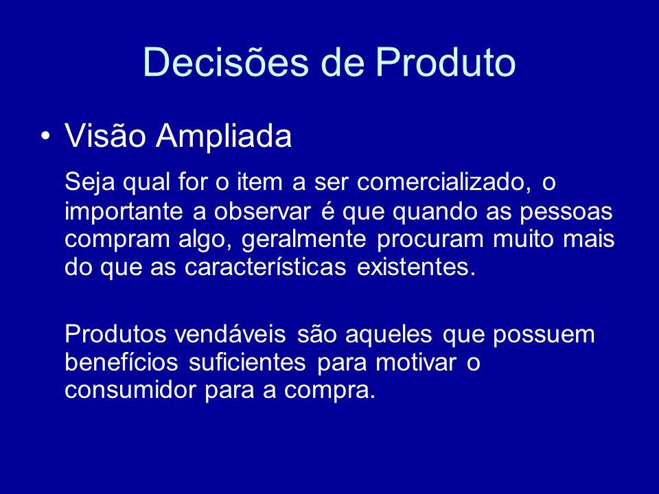 Decisões de Produto Visão Ampliada Seja qual for o item a ser comercializado, o importante a observar é que quando as pessoas compram algo, geralmente