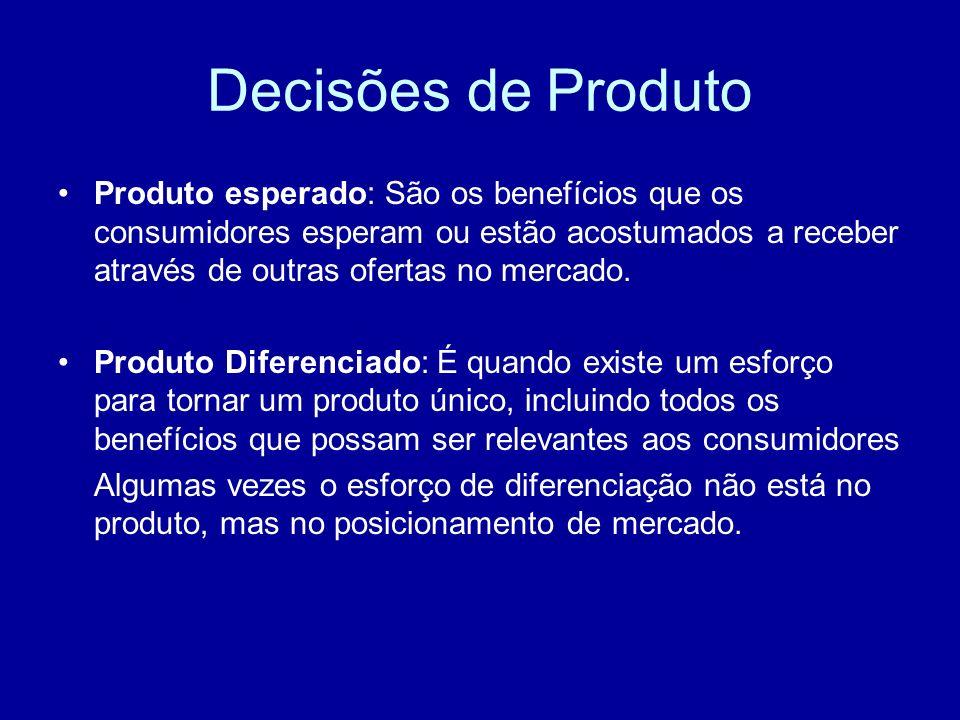 Decisões de Produto Produto esperado: São os benefícios que os consumidores esperam ou estão acostumados a receber através de outras ofertas no mercad