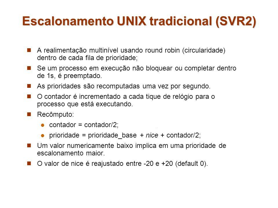 Escalonamento UNIX tradicional (SVR2) A realimentação multinível usando round robin (circularidade) dentro de cada fila de prioridade; Se um processo
