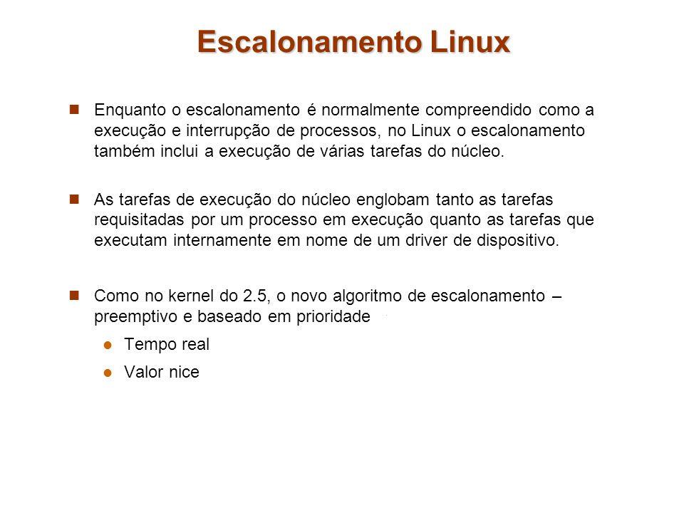 Escalonamento Linux Enquanto o escalonamento é normalmente compreendido como a execução e interrupção de processos, no Linux o escalonamento também in
