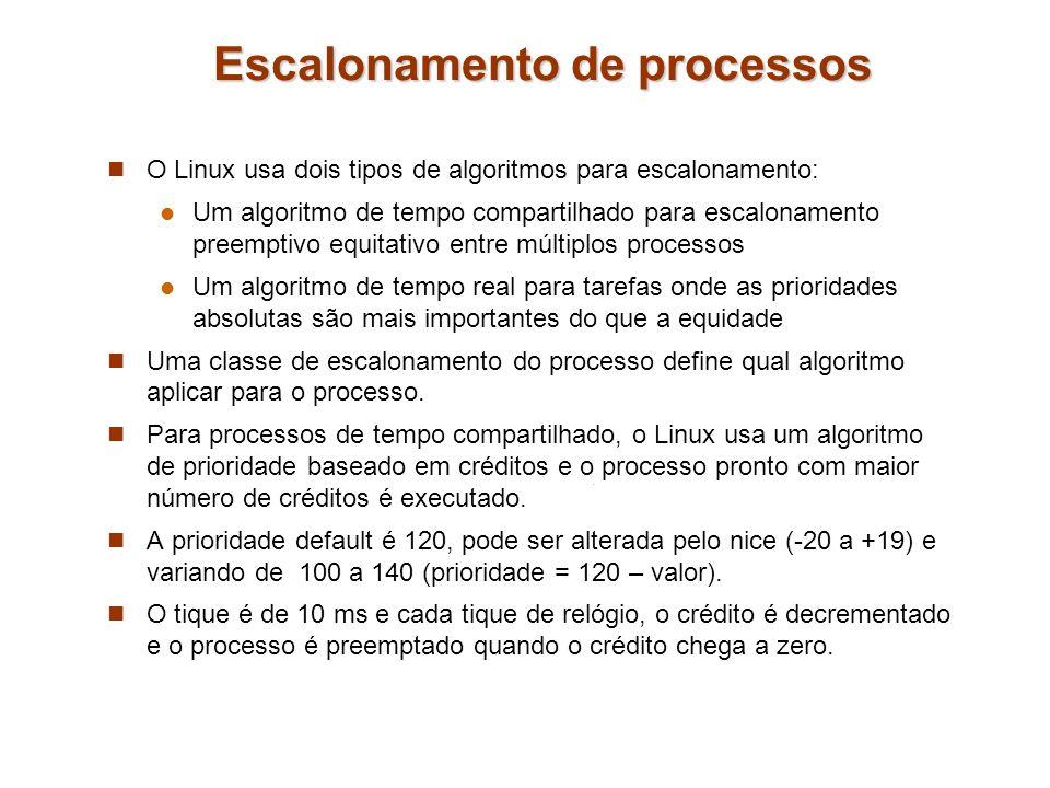 Escalonamento de processos O Linux usa dois tipos de algoritmos para escalonamento: Um algoritmo de tempo compartilhado para escalonamento preemptivo