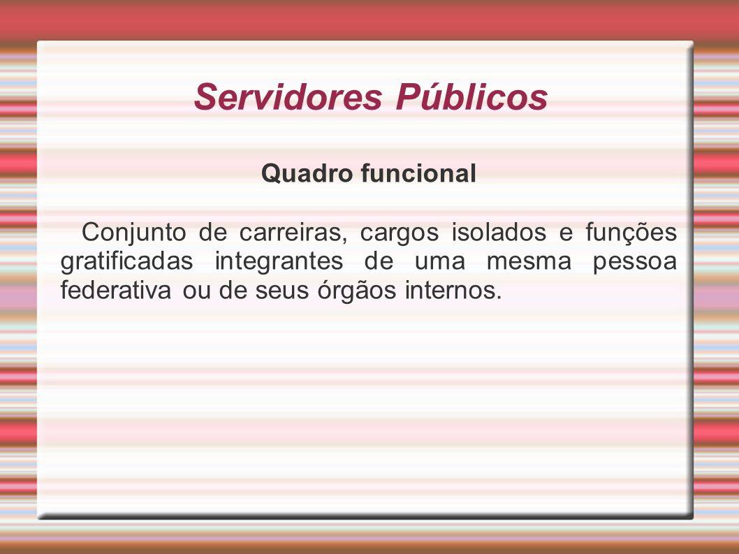 Servidores Públicos Quadro funcional Conjunto de carreiras, cargos isolados e funções gratificadas integrantes de uma mesma pessoa federativa ou de se