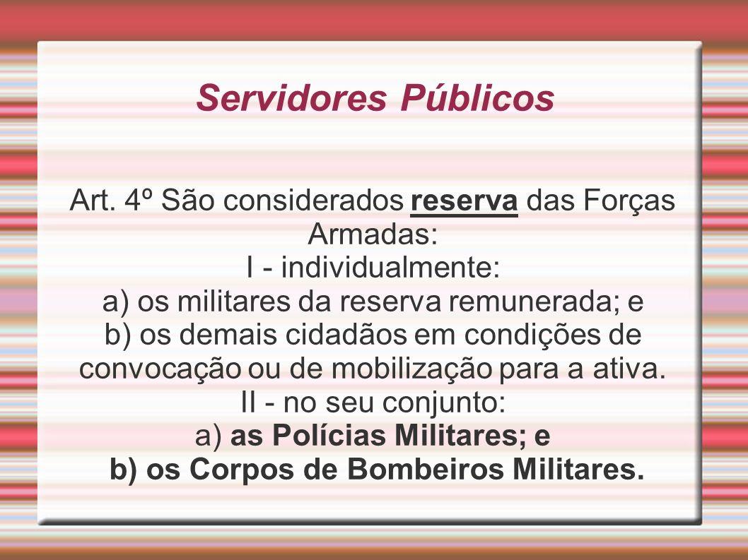 Servidores Públicos Art. 4º São considerados reserva das Forças Armadas: I - individualmente: a) os militares da reserva remunerada; e b) os demais ci