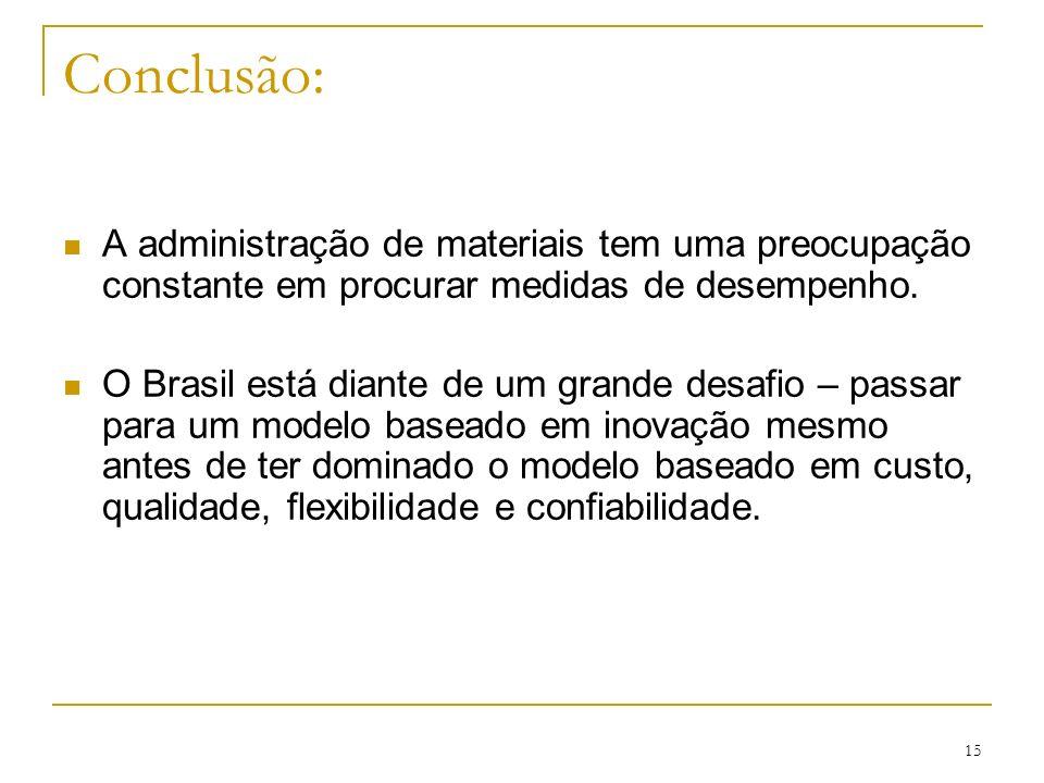 15 Conclusão: A administração de materiais tem uma preocupação constante em procurar medidas de desempenho. O Brasil está diante de um grande desafio