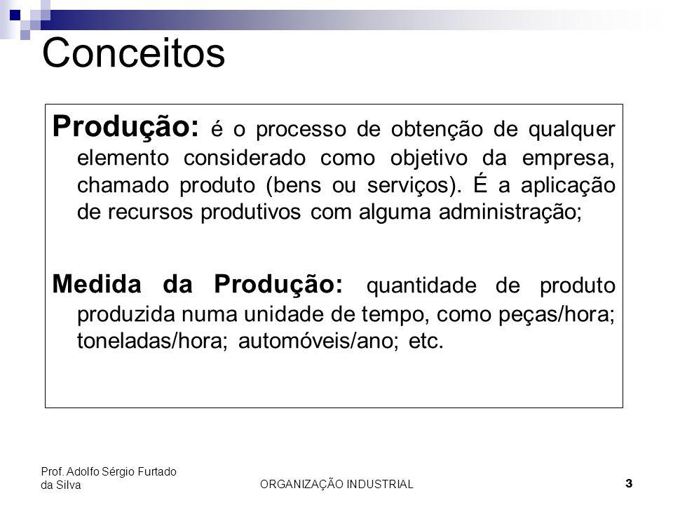 ORGANIZAÇÃO INDUSTRIAL3 Prof. Adolfo Sérgio Furtado da Silva Conceitos Produção: é o processo de obtenção de qualquer elemento considerado como objeti