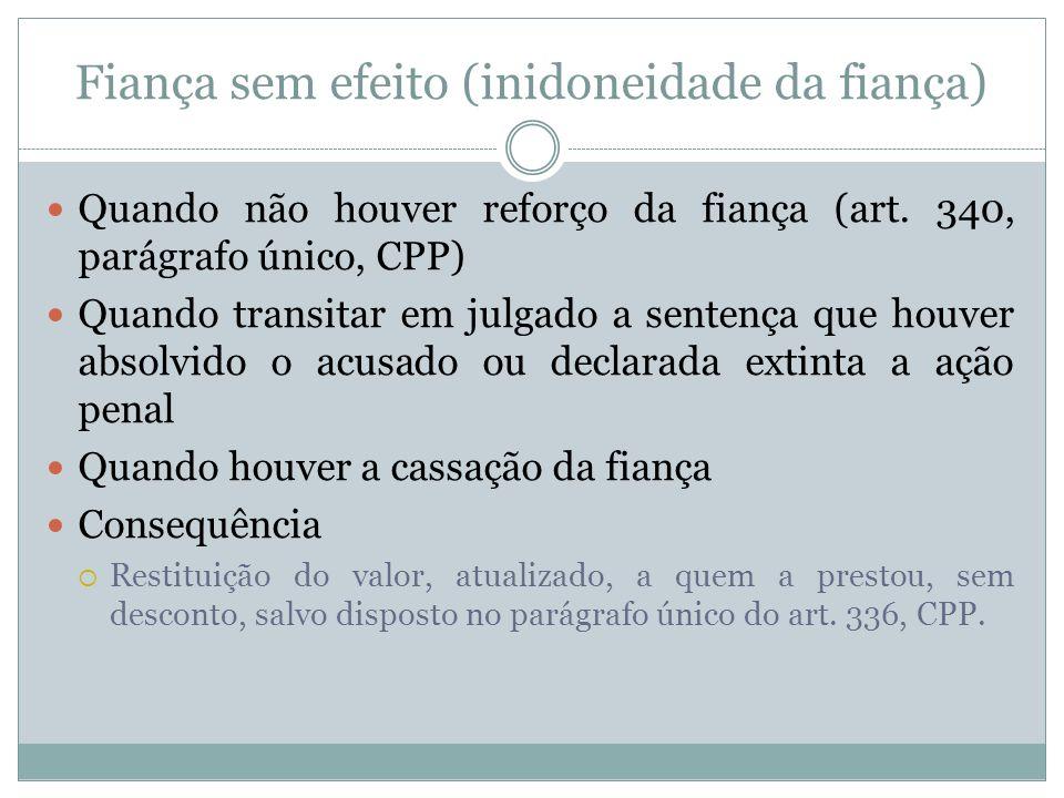 Fiança sem efeito (inidoneidade da fiança) Quando não houver reforço da fiança (art. 340, parágrafo único, CPP) Quando transitar em julgado a sentença