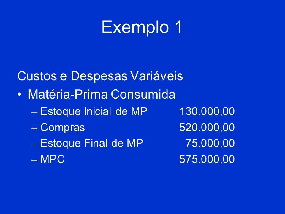 Exemplo 1 Custos e Despesas Variáveis Matéria-Prima Consumida –Estoque Inicial de MP130.000,00 –Compras520.000,00 –Estoque Final de MP 75.000,00 –MPC5
