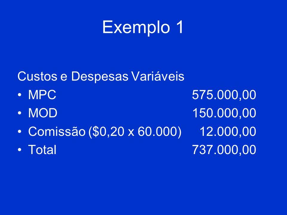 Exemplo 1 Custos e Despesas Variáveis MPC575.000,00 MOD150.000,00 Comissão ($0,20 x 60.000) 12.000,00 Total 737.000,00