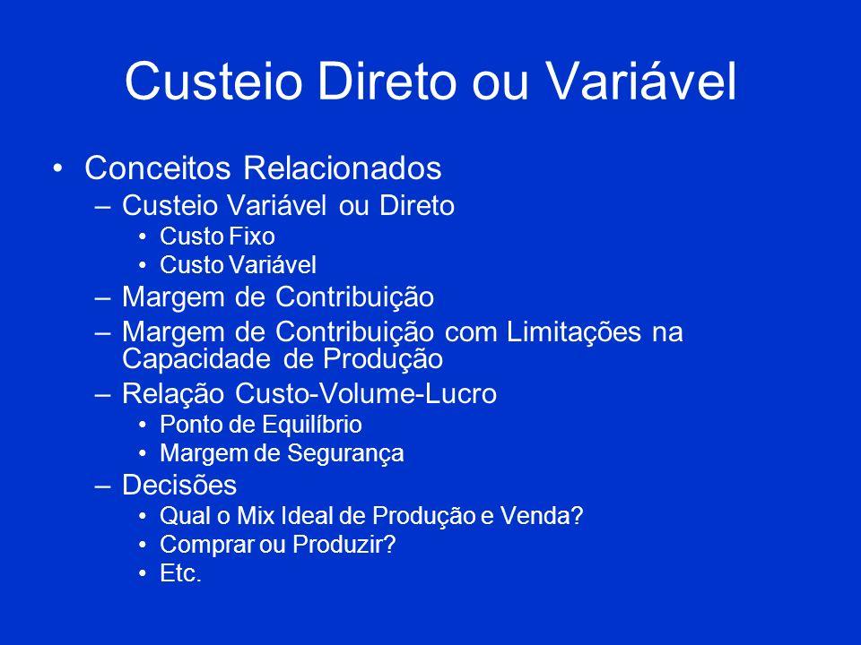 Custeio Direto ou Variável Conceitos Relacionados –Custeio Variável ou Direto Custo Fixo Custo Variável –Margem de Contribuição –Margem de Contribuiçã