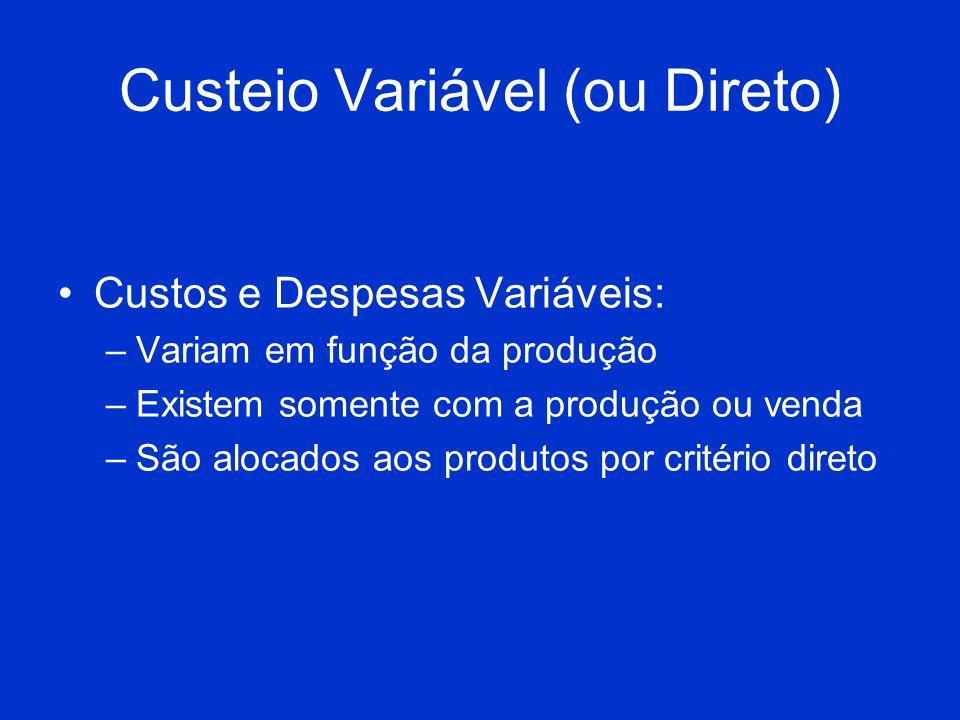 Custeio Variável (ou Direto) Custos e Despesas Variáveis: –Variam em função da produção –Existem somente com a produção ou venda –São alocados aos pro
