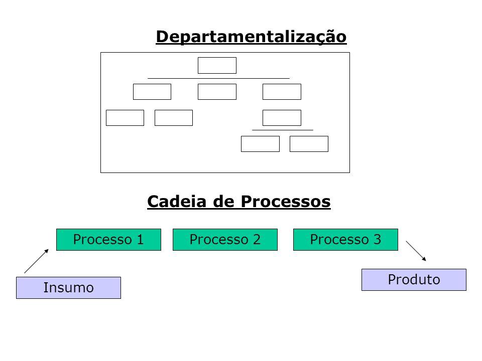 Processo 1 Insumo Processo 3Processo 2 Produto Departamentalização Cadeia de Processos