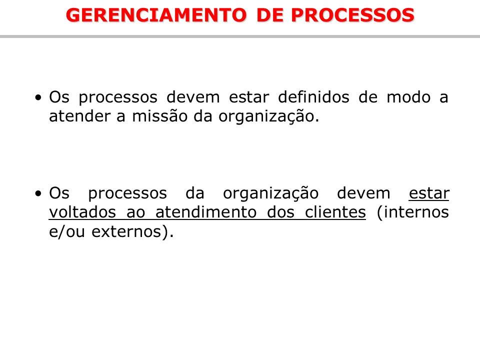 Os processos devem estar definidos de modo a atender a missão da organização. Os processos da organização devem estar voltados ao atendimento dos clie