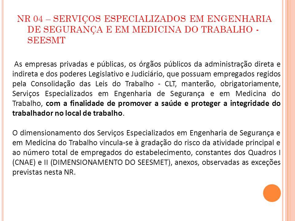 NR 04 – SERVIÇOS ESPECIALIZADOS EM ENGENHARIA DE SEGURANÇA E EM MEDICINA DO TRABALHO - SEESMT As empresas privadas e públicas, os órgãos públicos da a