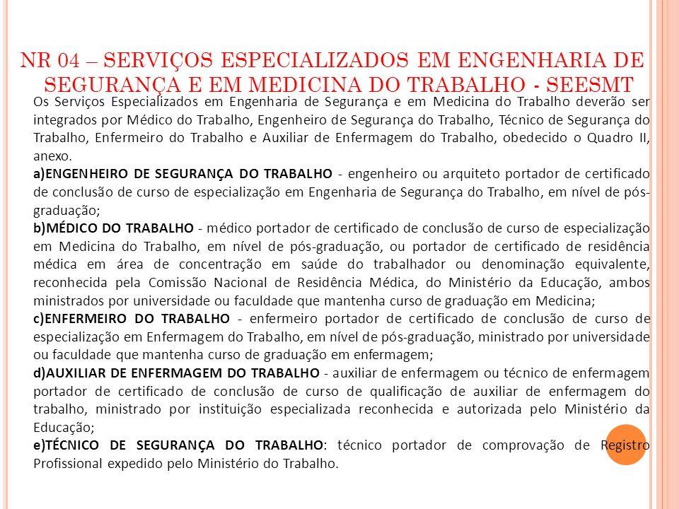 NR 04 – SERVIÇOS ESPECIALIZADOS EM ENGENHARIA DE SEGURANÇA E EM MEDICINA DO TRABALHO - SEESMT Os Serviços Especializados em Engenharia de Segurança e
