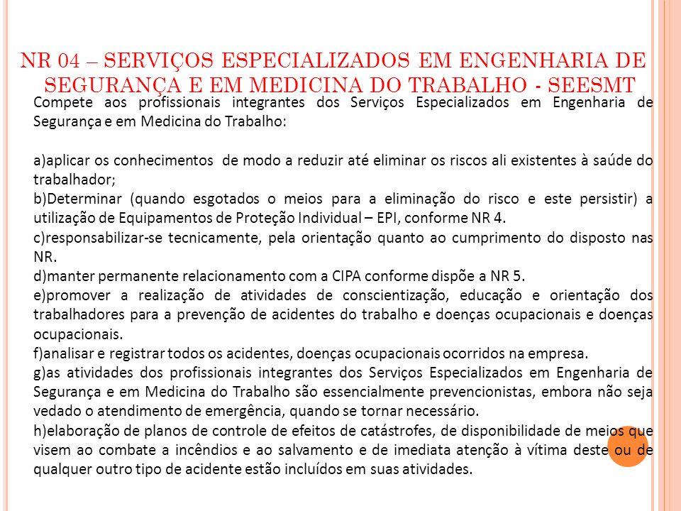 NR 04 – SERVIÇOS ESPECIALIZADOS EM ENGENHARIA DE SEGURANÇA E EM MEDICINA DO TRABALHO - SEESMT Compete aos profissionais integrantes dos Serviços Espec