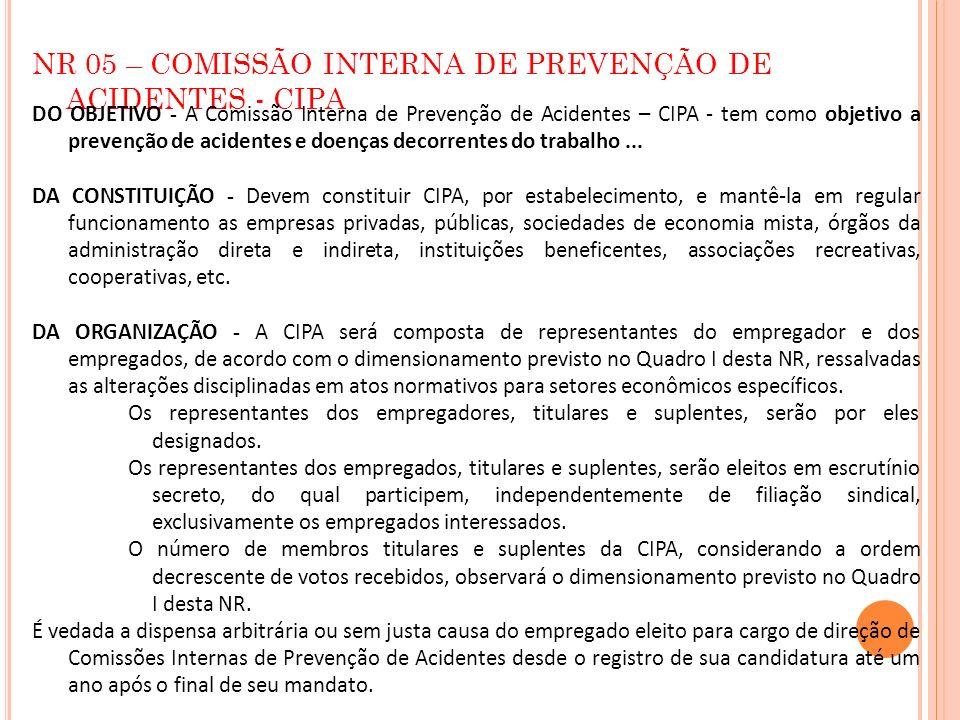 NR 05 – COMISSÃO INTERNA DE PREVENÇÃO DE ACIDENTES - CIPA DO OBJETIVO - A Comissão Interna de Prevenção de Acidentes – CIPA - tem como objetivo a prev