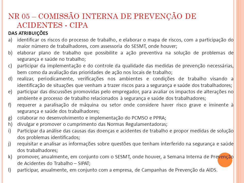 NR 05 – COMISSÃO INTERNA DE PREVENÇÃO DE ACIDENTES - CIPA DAS ATRIBUIÇÕES a)identificar os riscos do processo de trabalho, e elaborar o mapa de riscos