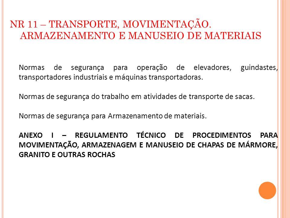 NR 11 – TRANSPORTE, MOVIMENTAÇÃO. ARMAZENAMENTO E MANUSEIO DE MATERIAIS Normas de segurança para operação de elevadores, guindastes, transportadores i