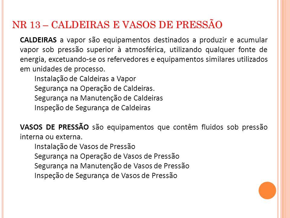 NR 13 – CALDEIRAS E VASOS DE PRESSÃO CALDEIRAS a vapor são equipamentos destinados a produzir e acumular vapor sob pressão superior à atmosférica, uti