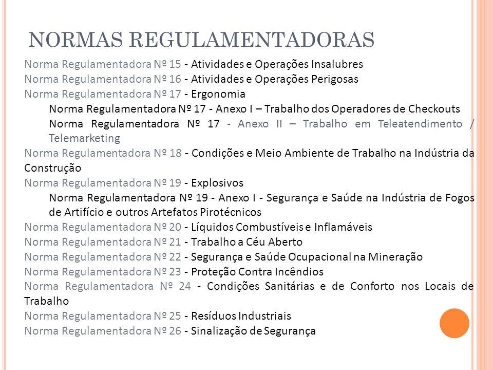 NORMAS REGULAMENTADORAS Norma Regulamentadora Nº 15 - Atividades e Operações Insalubres Norma Regulamentadora Nº 16 - Atividades e Operações Perigosas
