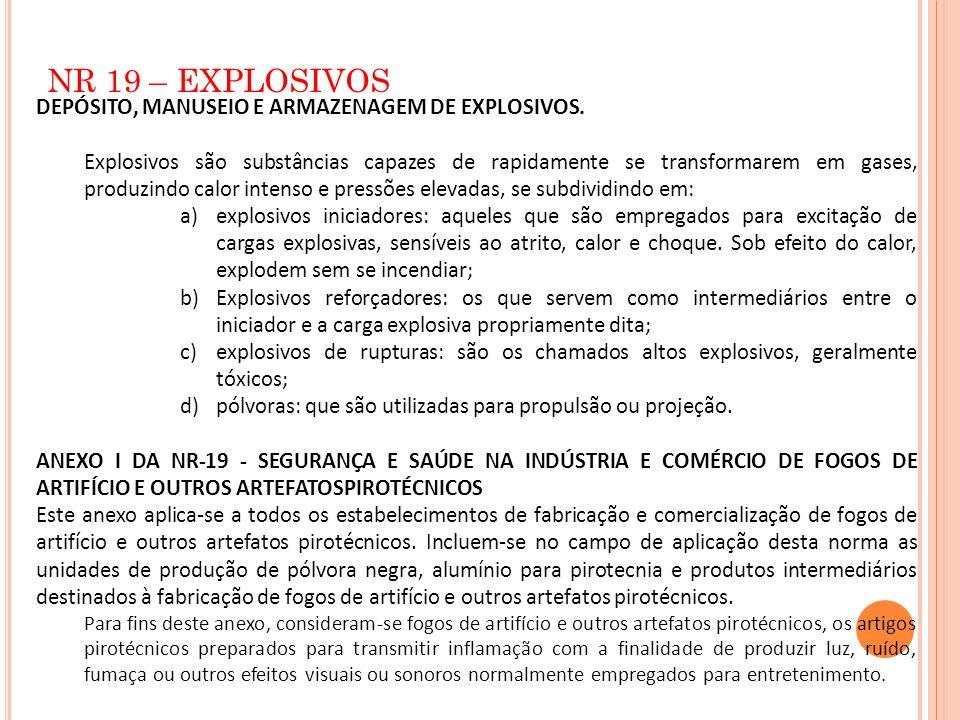 NR 19 – EXPLOSIVOS DEPÓSITO, MANUSEIO E ARMAZENAGEM DE EXPLOSIVOS. Explosivos são substâncias capazes de rapidamente se transformarem em gases, produz