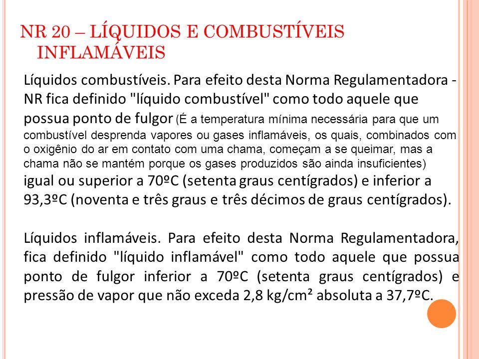 NR 20 – LÍQUIDOS E COMBUSTÍVEIS INFLAMÁVEIS Líquidos combustíveis. Para efeito desta Norma Regulamentadora - NR fica definido