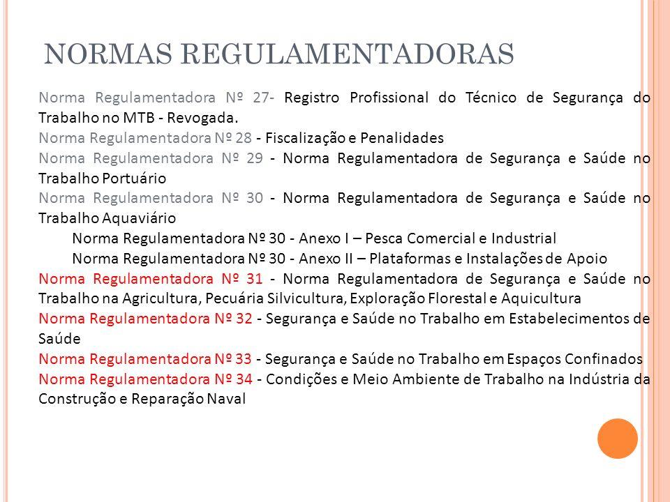 NORMAS REGULAMENTADORAS Norma Regulamentadora Nº 27- Registro Profissional do Técnico de Segurança do Trabalho no MTB - Revogada. Norma Regulamentador