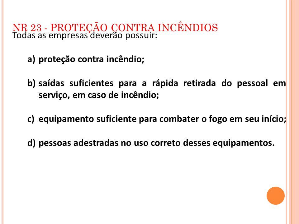 NR 23 - PROTEÇÃO CONTRA INCÊNDIOS Todas as empresas deverão possuir: a)proteção contra incêndio; b)saídas suficientes para a rápida retirada do pessoa