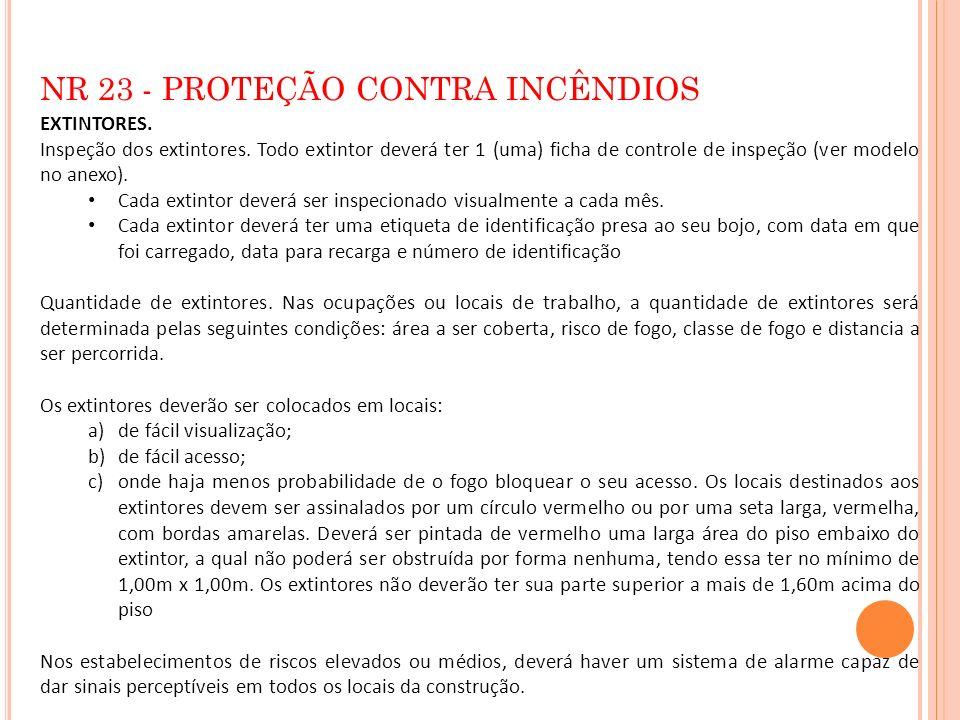 NR 23 - PROTEÇÃO CONTRA INCÊNDIOS EXTINTORES. Inspeção dos extintores. Todo extintor deverá ter 1 (uma) ficha de controle de inspeção (ver modelo no a