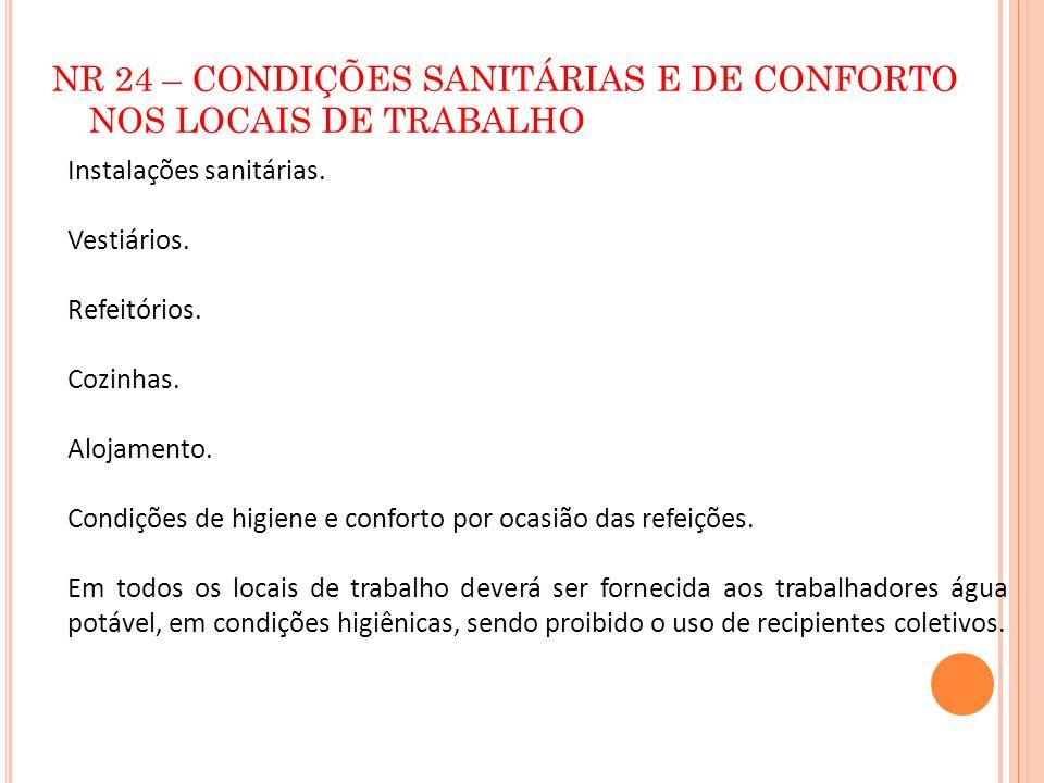 NR 24 – CONDIÇÕES SANITÁRIAS E DE CONFORTO NOS LOCAIS DE TRABALHO Instalações sanitárias. Vestiários. Refeitórios. Cozinhas. Alojamento. Condições de