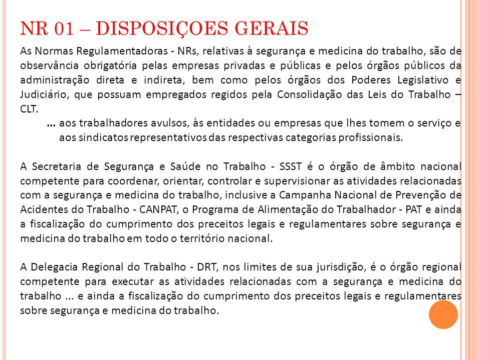 NR 01 – DISPOSIÇOES GERAIS As Normas Regulamentadoras - NRs, relativas à segurança e medicina do trabalho, são de observância obrigatória pelas empres